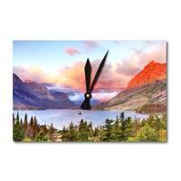Glacier Park MT St Mary Lake Sunset LP Photo (Acrylic Wall Clock) - acrylic wall clock