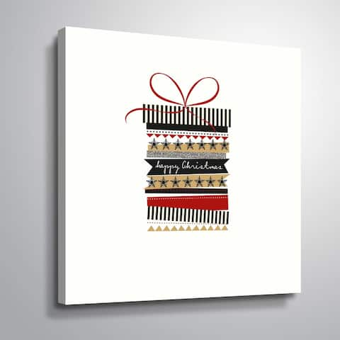 ArtWall Merry Christmas Present Gallery Wrapped Canvas