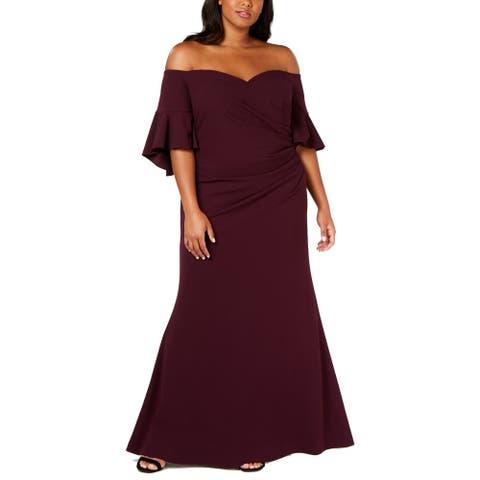 Calvin Klein Women's Dress Purple Size 24W Plus Off Shoulder Gown
