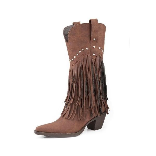 Roper Western Boots Womens Fringe Studs Brown