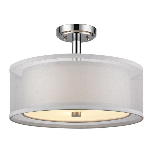 "Dolan Designs 1275 Double Organza 3-Light 16"" Wide Semi-Flush Drum Ceiling Fixture with Fabric Shade"