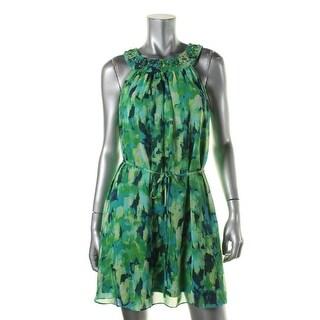 Jessica Howard Womens Petites Chiffon Embellished Cocktail Dress - 12P