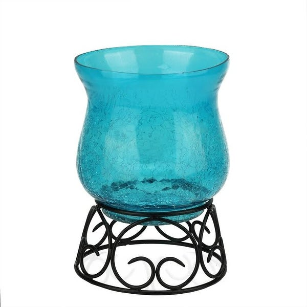 "7.5"" Decorative Transparent Blue Crackle Finish Glass Pillar Candle Holder with Black Scroll Base"