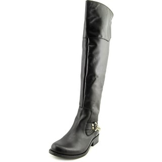 Steve Madden Olgga Round Toe Leather Over the Knee Boot