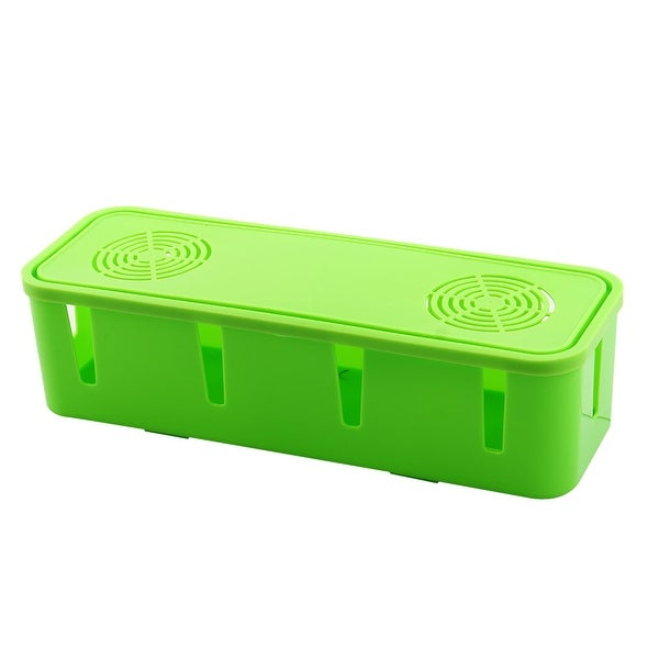 Rectangle Shape Tidy Wires Power Cable Plastic Storage Organizer Box Case  Green