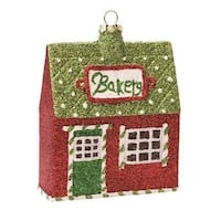 "4"" Merry & Bright Green, Red and White Glittered Shatterproof ""Bakery"" Christmas Ornament"