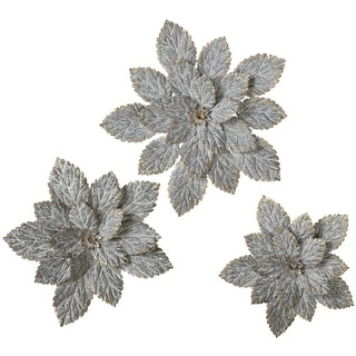 """Set of 6 Gray and Gold Colored Galvanized Decorative Flower Wall Decors 14"""" - N/A"""