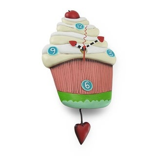 `Sweet Pink Cupcake` Pendulum Wall Clock By Allen Designs