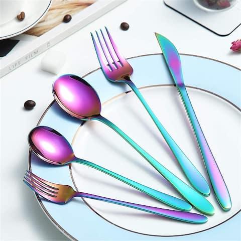 20-Piece Silverware Set, Stainless Steel Flatware Set, Korean Style , Mirror Finish Dishwasher Safe for Kitchen Restaurant