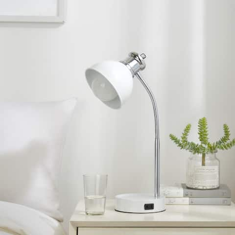 College Caravan Charging Two Tone Lamp with Catch-all Base