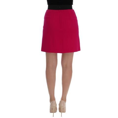 Dolce & Gabbana Pink Carretto Crystal Wool Skirt