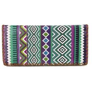 Mlavi Women's Faux Leather Dark Aztec Print Checkbook Wallet - One size