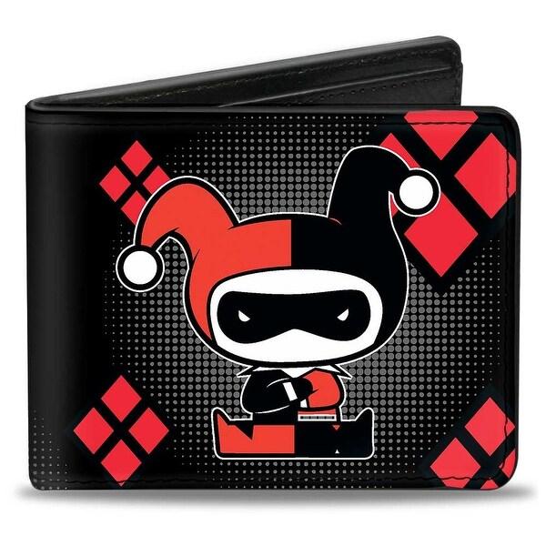 Chibi Harley Quinn Splits Dots Diamonds Black Gray Red Bi Fold Wallet - One Size Fits most