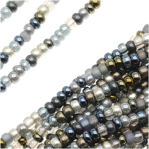 Czech Seed Beads Mix Lot 11/0 Heavy Metals Grey/Blue/Metallics - 1/2 Hank
