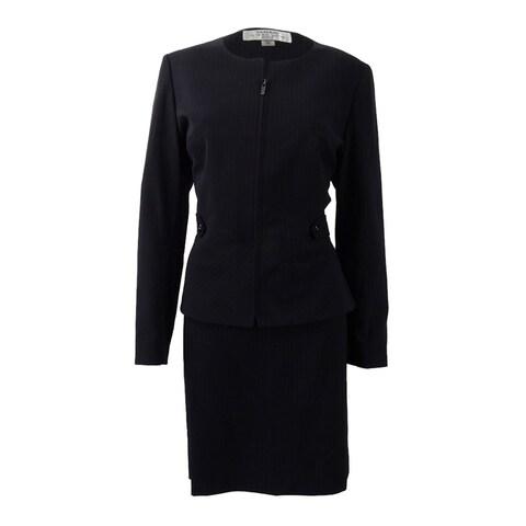 Tahari ASL Women's Petite Pinstriped Skirt Suit - NAVY/WHITE