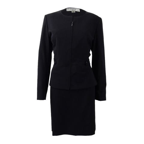 Tahari ASL Women's Pinstriped Skirt Suit - Navy/White