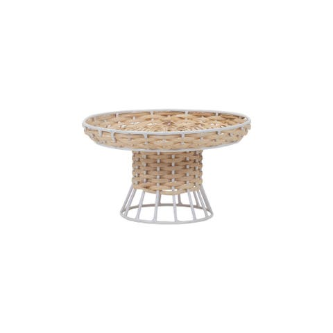 Foreside Home & Garden Small Natural Rattan and White Metal Riser Stand - 8x8x5