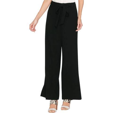 Vince Camuto Womens Tie-Waist Casual Wide Leg Pants, Black, 2