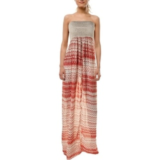 Elan Womens Maxi Strapless Dress Swim Cover-Up - o/s