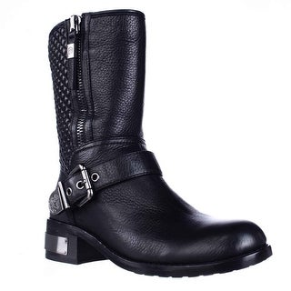 Vince Camuto Whynn Mid-Calf Motorcycle Boots, Black