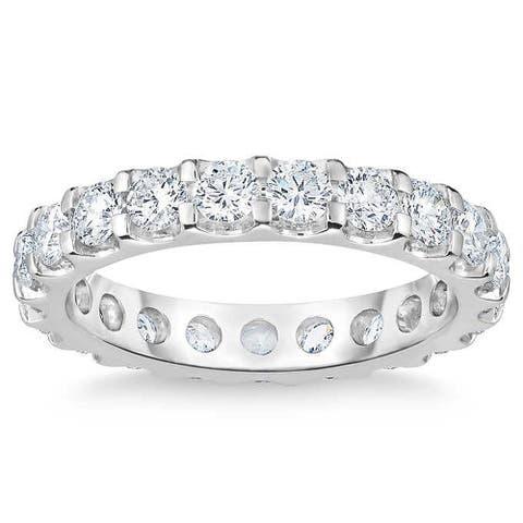 2 Ct Moissanite Eternity Ring Womens Wedding Band 14k White Gold (G/H, VS1-VS2)