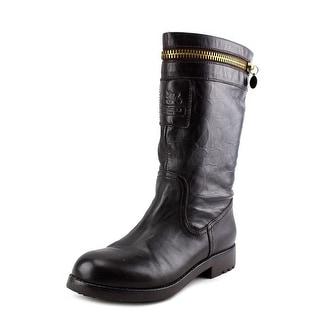 Coach Vinni   Round Toe Leather  Mid Calf Boot