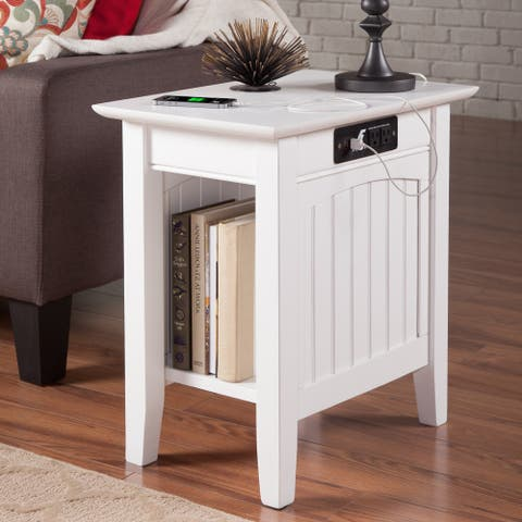 Nantucket White Solid Wood Side Table