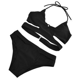 Floral Print Halter Push-up Removable Padded Bra Bikini Set Swimsuit Swimwear M