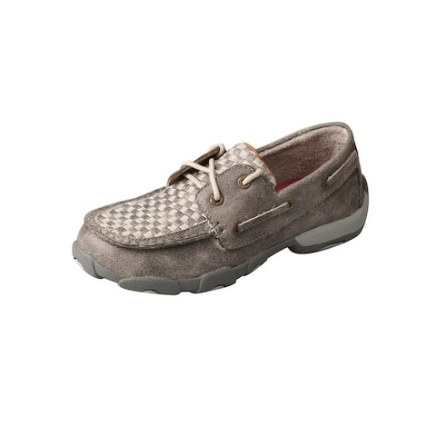 Twisted X Casual Shoes Kids Boat Shoe Leather Checker Gray