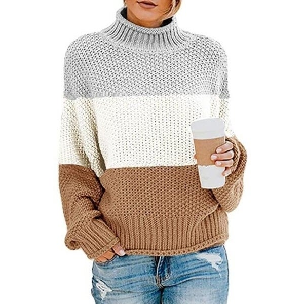 Turtleneck Chunky Knit Oversized Pullover Sweater. Opens flyout.