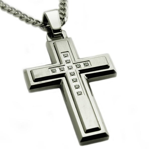 Stainless Steel Layered Cubic Zirconia Cross Pendant - 24 inches