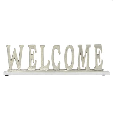 "Rectangular Silver Aluminum Welcome Sign On Light Marble Base 21"" X 6"" - 21 x 2 x 6"