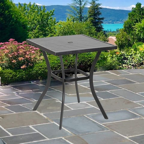 """Phi Villa Outdoor Patio 31"""" Square Height Bar Table with Umbrella Hole - 36"""" Height Coating Old Craft"""