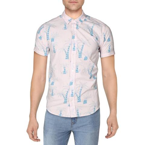 RVCA Mens Liu Wong Palms Casual Shirt Striped Collared - Pink Multi - M