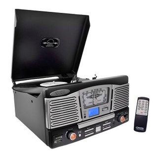 Retro Style Turntable Plays AM/FM Radio, MP3/WMA via USB/SD Card Readers, and Vinyl-to-MP3 Encoding Function (Black)