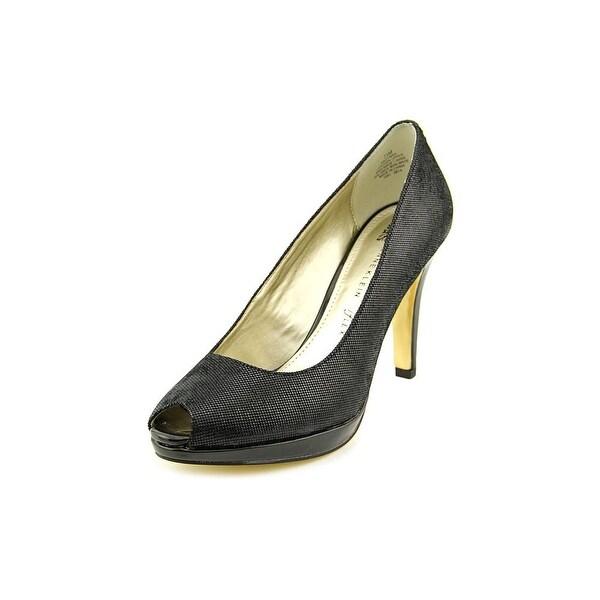 Anne Klein Dynah Women  Open Toe Leather Black Platform Heel