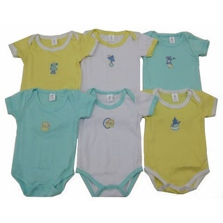 Baby Unisex Green Yellow White Embroidered Lap Shoulder 6 Pc Bodysuit Set 6M