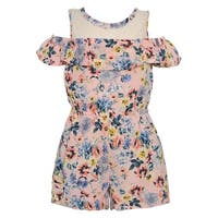 Bonnie Jean Little Girls Pink Blue Floral Print Lace Panel Overlay Romper
