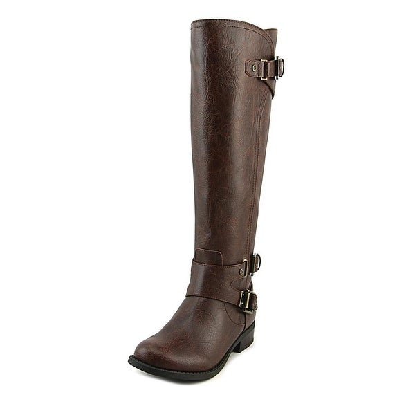 G By Guess Hatter Women Open-Toe Leather Brown Knee High Boot