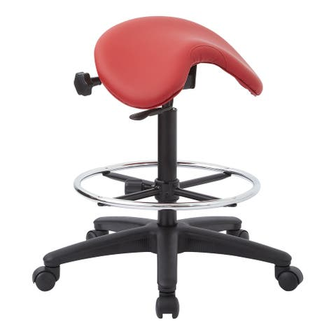 Backless Stool with Height-adjustable Saddle Seat