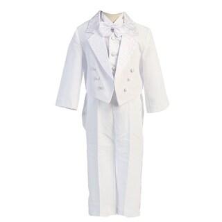 Angels Garment White 5 Piece Bow Vest Tuxedo Baptism Set Boys 5-7