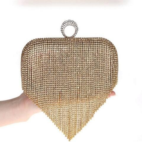 Evening Bag With Diamond Tassels Handmade Rhinestone Messenger Bag