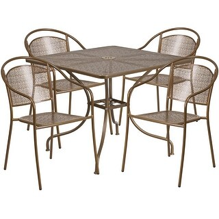 Westbury 5pcs Square 35.5'' Gold Steel Table w/4 Round Back Chairs