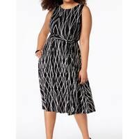 Jessica Howard Black White Womens Size 20W Plus Midi Sheath Dress