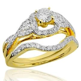 1.00ctw Diamond Bridal Wedding Rings Set 14K Yelow Gold 10mm Wide 2pc Set 1/3ctw Center(i2/I3, i/j)