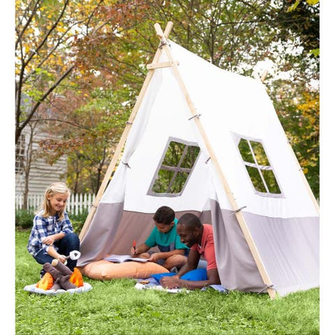 HearthSong Wooden A-Frame Tent - Brown - One Size - One Size