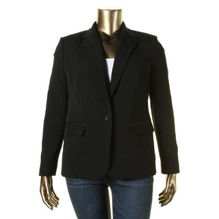 Lauren Ralph Lauren Womens One-Button Blazer Wool Blend Faux Leather Trim