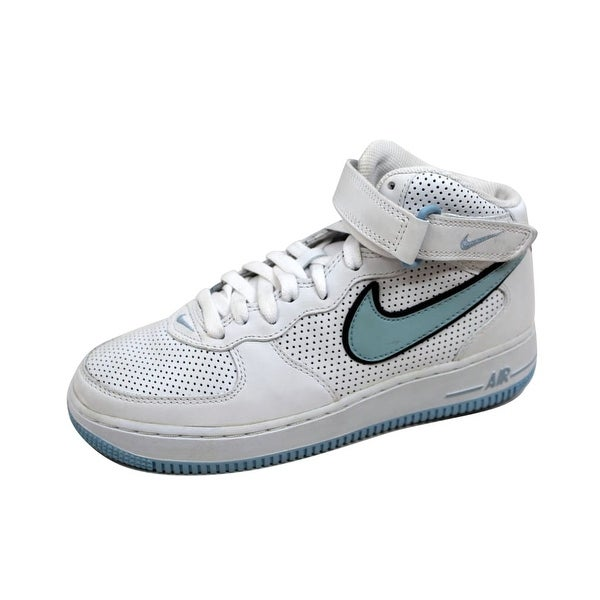 Nike Women's Air Force 1 Mid White/Ice Blue-Black 308915-141 Size 8