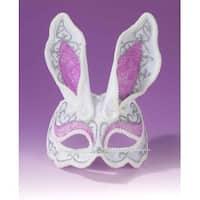 White & Pink Glamour Bunny Mardi Gras Costume 3/4 Mask