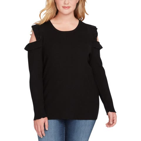 Jessica Simpson Womens Plus Amenta Pullover Sweater Cold Shoulder Long Sleeves
